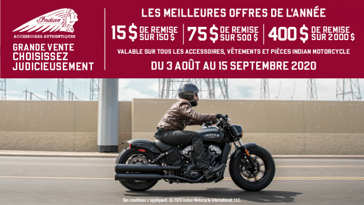 AOÛT- PROMOTION INDIAN MOTORCYCLE